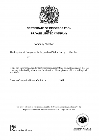 Certificate of Incorporation - UK